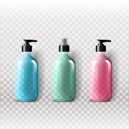 posicionamiento de marca: Mockup plantilla para la marca y diseños de productos. Botellas de vidrio transparentes realistas aislados con el aerosol del dispensador y el diseño único. Vectores