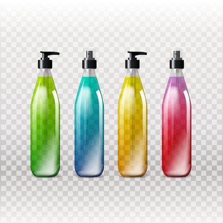 Plantilla de maqueta para diseños de marca y producto. Botellas de vidrio transparentes realistas aislados con dispensador de spray y diseño único. Fácil de usar para publicidad de marca y marketing. EPS 10 Vectores