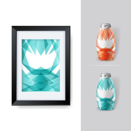 posicionamiento de marca: Mockup plantilla para la marca y diseños de productos. Aislado botellas de plástico realista con diseño geométrico único. Fácil de usar para la publicidad de marca y marketing. Eps 10