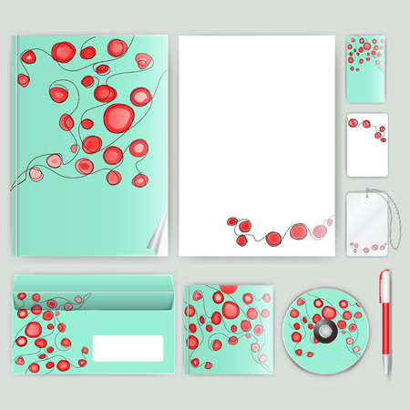 saltar: Plantilla de identidad corporativa con elementos de color. Vector estilo de negocio de la empresa para el libro de la marca, el informe y la directriz. Vectores