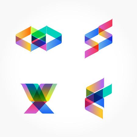 Set van minimale geometrische veelkleurige vormen. Trendy hipster iconen en logotypes. Bedrijfsborden symbolen, labels, badges, frames en grenzen. eps 10