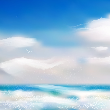 Spring and summer watercolor ocean background with shining sparks and bokeh. Vector Illustration, Graphic Design