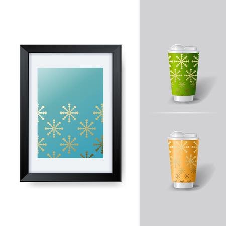 posicionamiento de marca: Mockup plantilla para la marca y diseños de productos. Copas realistas aisladas para el café o el té y diseño único.