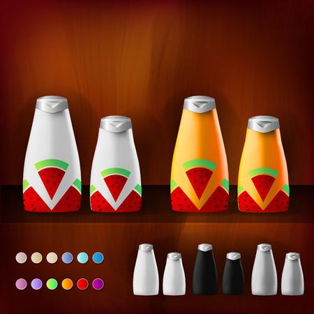 Mockup plantilla para la marca y diseños de productos. Aislado botellas de plástico realistas con dispensador de spray y diseño único de frutas. Vectores