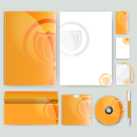 guideline: Corporate identity template with color elements. Vector company business style for brandbook, report and guideline.