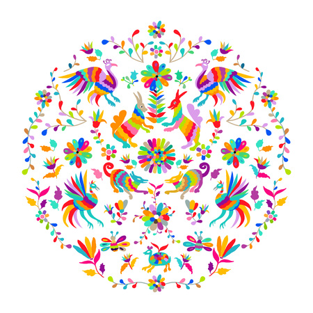 Vector folk Mexican Otomi embroidery Pattern