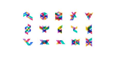 Ensemble de formes multicolores géométriques minimales. Des icônes et des logotypes de hipster à la mode. Business signe des symboles, des étiquettes, des badges, des cadres et des bordures