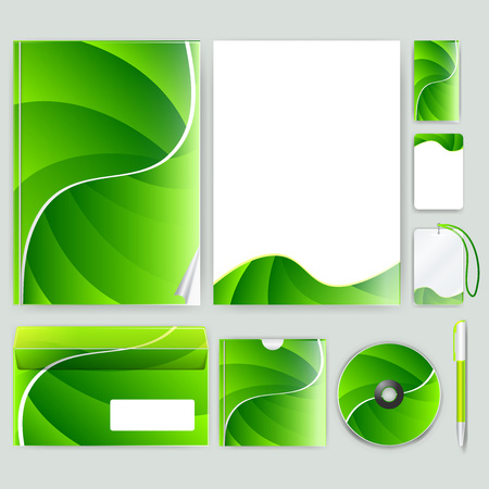 skip: Corporate identity template with color elements. Vector company business style for brandbook, report and guideline.