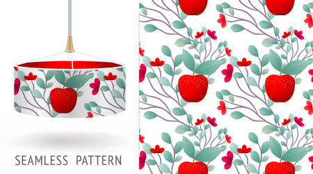 A set of summer seamless unique abstract fruit and flowers patterns, demonstrated on textile lampshades. Can be used for embroidery, print or silkscreen on fabric. Illustration