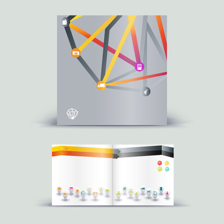 Corporate booklet promotion template with color elements. Vector company brichure business style for advertising, report or guideline.