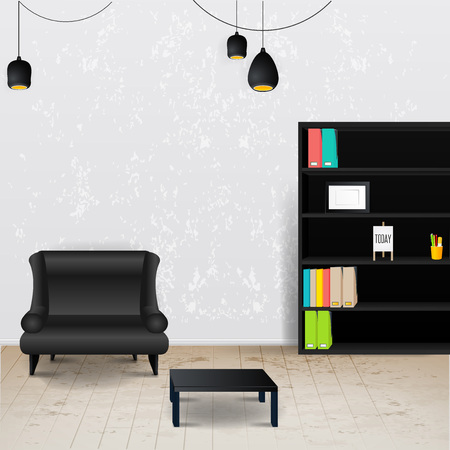 chandelier background: Workplace room. Vector illustration of modern office.