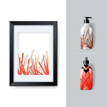 posicionamiento de marca: Mockup plantilla para la marca y diseños de productos. Aislado botellas de plástico realista con diseño floral único. Fácil de usar para la publicidad de marca y marketing.