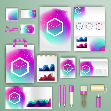 Modello di identità corporativa con elementi di colore. Vector lo stile aziendale per brandbook, report e linee guida.