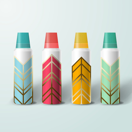 Szablon Mockup do projektowania brandingu i produktu. Izolowane realistyczne plastikowe butelki z unikalnym wzorem geometrycznym.