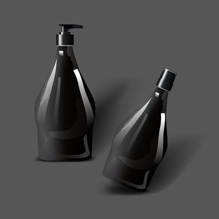 Mockup template for branding and product designs. Isolated realistic plastic bottles with dispenser spray and unique design. Фото со стока - 82155594