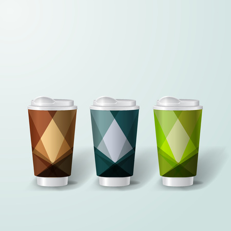 Mockup plantilla para la marca y diseños de productos. Copas realistas aisladas para el café o el té y diseño único.