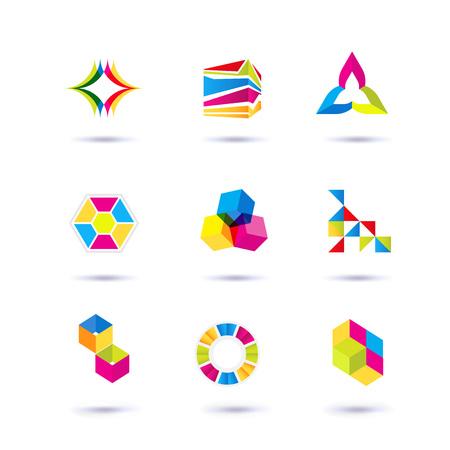 Set symbool en vormen. Trendy iconen en logo's. Bedrijfsborden symbolen, labels, badges, frames en grenzen Stockfoto - 82863589