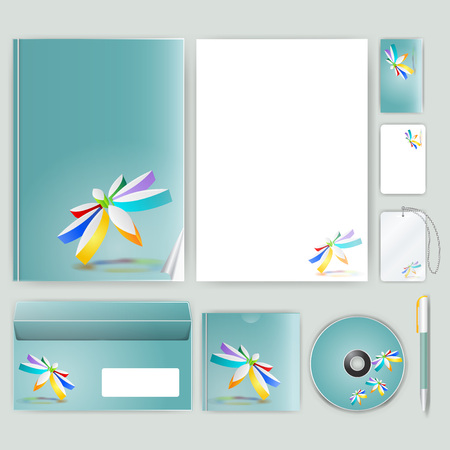 businesscard: Corporate identity template with color elements. Vector company business style for brandbook, report and guideline.