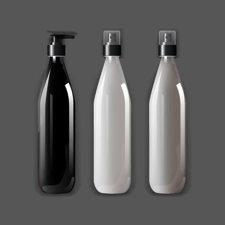 Mockup plantilla para la marca y diseños de productos. Aislado botellas de plástico realistas con spray de dispensador y diseño único. Fácil de usar para la publicidad de marca y marketing. Vectores