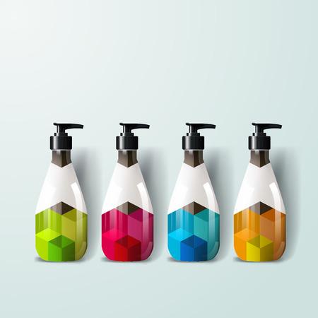 posicionamiento de marca: Mockup plantilla para la marca y diseños de productos. Aislado botellas de plástico realistas con spray distribuidor y diseño geométrico único.