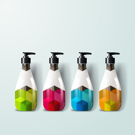 Mockup template for branding and product designs. Isolated realistic plastic bottles with dispenser spray and unique geometric design. Illustration