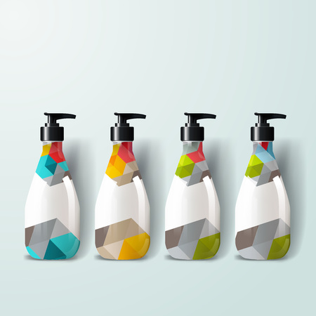Mockup template for branding and product designs. Isolated realistic plastic bottles with dispenser spray and unique geometric design. Vectores