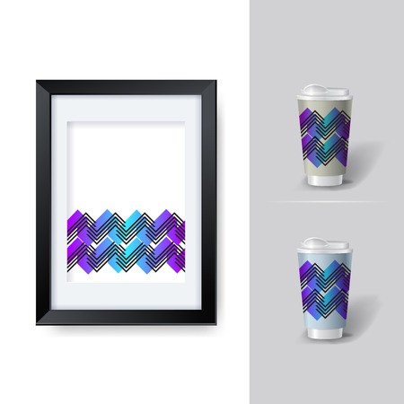 posicionamiento de marca: Mockup template for branding and product designs. Isolated realistic cups for coffee or tea and unique design. Easy to use for advertising branding and marketing. eps 10 Vectores