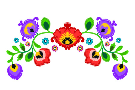 repetitive: Folk embroidery ornament with flowers. Traditional authentic polish pattern decoration - wycinanka, Wzory Lowickie