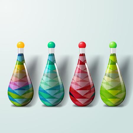 Plantilla de maqueta para diseños de marca y producto. Botellas plásticas realistas aisladas con diseño geométrico único. Fácil de usar para publicidad de marca y marketing.
