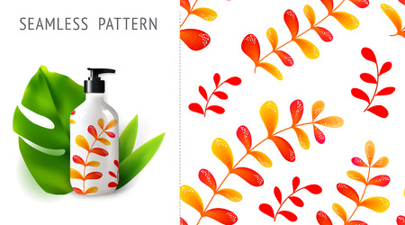 Summer seamless patterns, demonstrated on mockup installation with bottle. Can be used for embroidery, print or silkscreen on fabric. Illustration