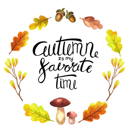 Watercolor lettering autumn design elements (things). Stock Photo