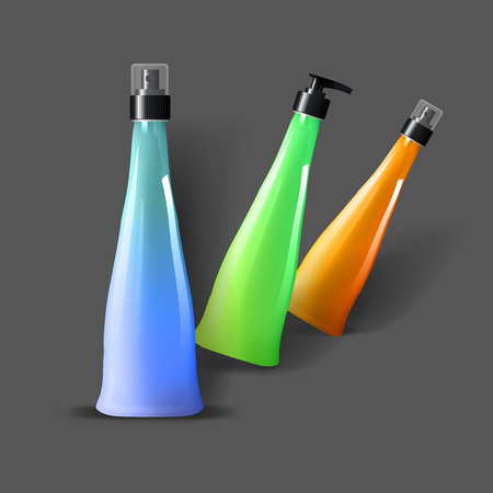 Mockup template for branding and product designs. Isolated realistic plastic bottles with dispenser spray and unique design.