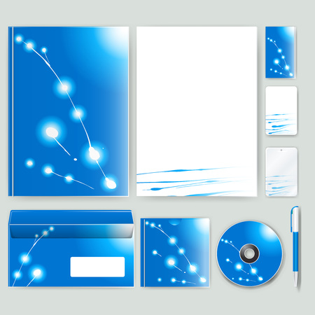 Corporate identity template with color elements. Vector company business style for brandbook, report and guideline.