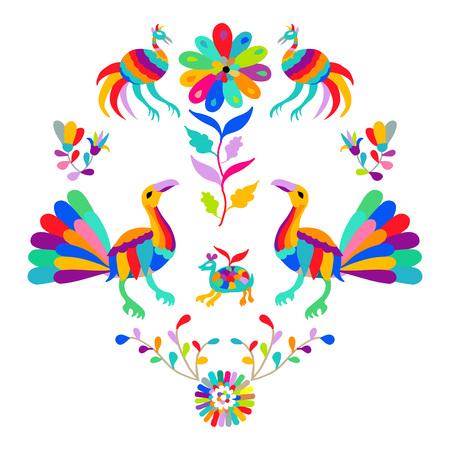 sun block: Vector folk Mexican Otomi Style embroidery Pattern Illustration