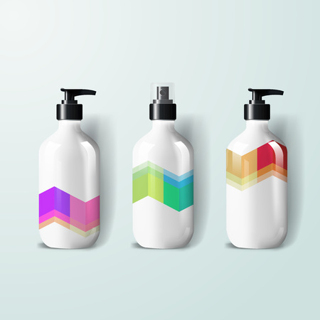 Mockup template for branding and product designs. Isolated realistic plastic bottles with dispenser spray and unique geometric design. Stock Illustratie