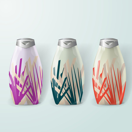 Mockup template for branding and product designs. Isolated realistic plastic bottles with unique floral design.