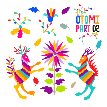 Vector folk Mexican Otomi Style embroidery Pattern set. Folk embroidery ornament elements. Vettoriali