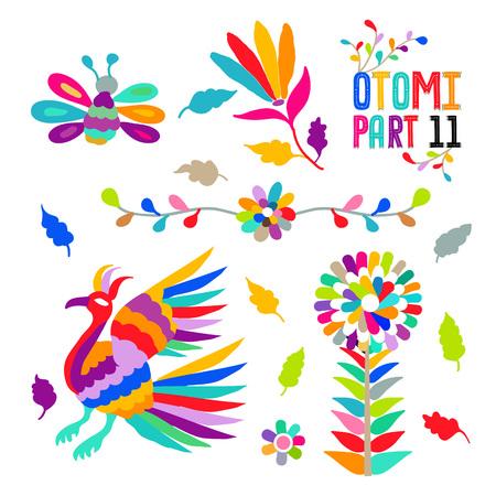 Vector folk Mexican Otomi Style embroidery Pattern set. Folk embroidery ornament elements. Иллюстрация
