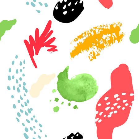 Vector stylized seamless pattern background hand-drawn illustration. Simple shape, bright pattern. Naive art style. Illustration