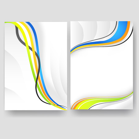 Vector minimal curve wave set background with shadow and space for text and message for business artwork, brochure, annual report. Vettoriali