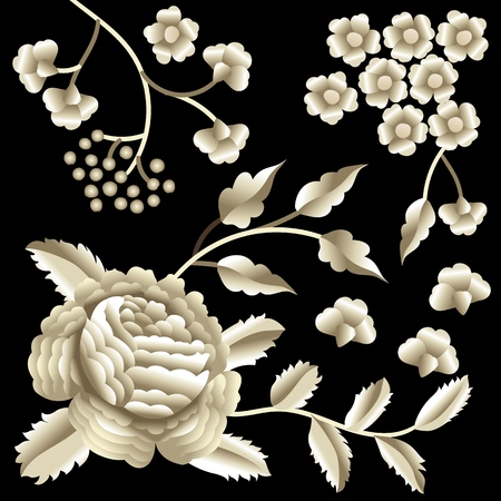 Vector Ancient Oriental folk motif of flowers. Spanish Manila flamenco decorative embroidery ornament. Traditional handmade embroidery.
