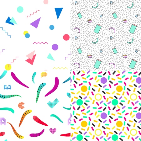A set of summer seamless multicolor memphis patterns. Can be used for embroidery, print or silkscreen on fabric textile. Illustration