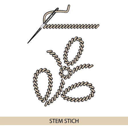 Stitches back stich type vector. Collection of thread hand embroidery and sewing stitches. Vector illustration of stitching examples. Vettoriali