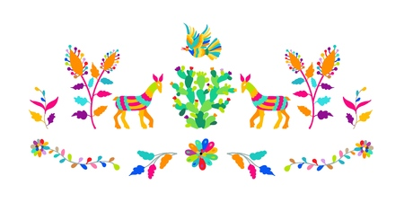 Vector folk Mexican otomi style embroidery pattern illustration.