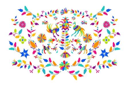 Vector ilustración de patrón de bordado de estilo otomi mexicano popular.