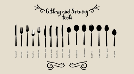 Set of cutlery and servant tools. Spoon fork and knife are placed. Tableware, top view. Vector illustration.