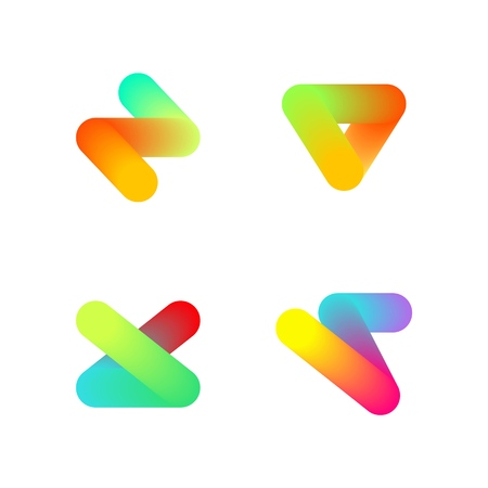 Set of minimal geometric holographic tubes. Trendy icons and logotypes. Business signs, labels, badges, frames and borders Illustration
