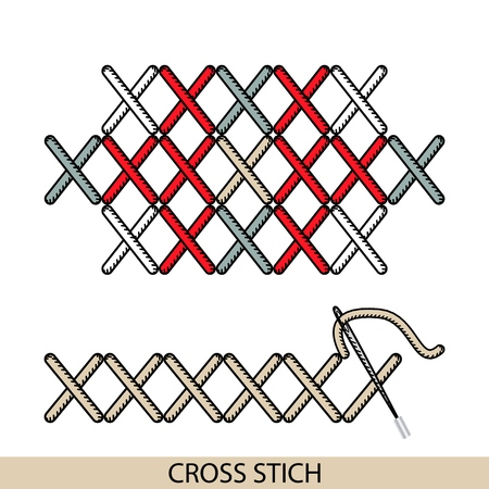 Stitches blanket stich type vector. Collection of thread hand embroidery and sewing stitches. Vector illsutration of stitching examples. Vettoriali