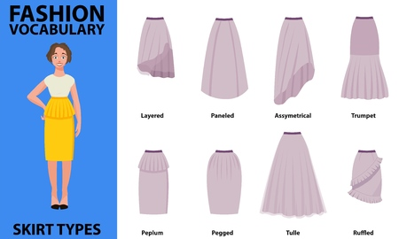 Skirt vocabulary collections of standard classic simple skirts. Many types of skirts sutable on vector nice vector model.