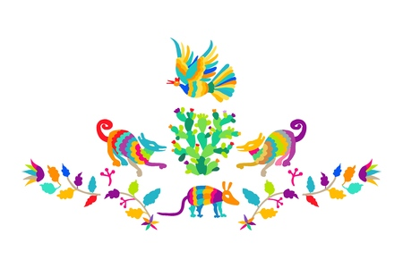 Vector folk Mexican Otomi Style embroidery Pattern set. Folk embroidery ornament